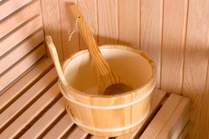 Wooden bucket and spoon for finnish sauna